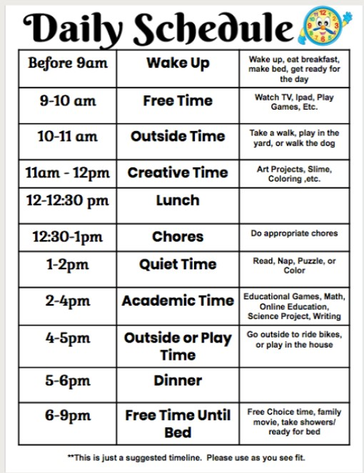 Here is a suggested schedule to use daily